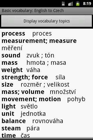 Basic Vocabulary Dicitonary - modul