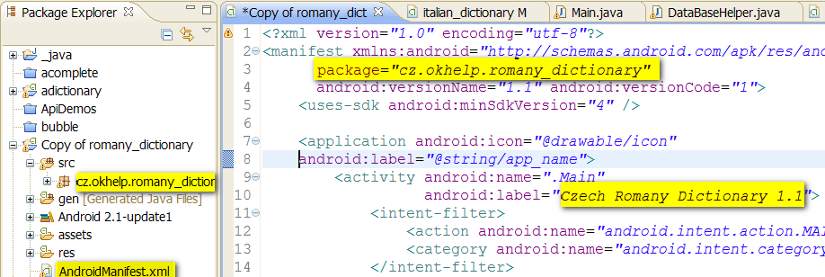 rename android package in eclipse